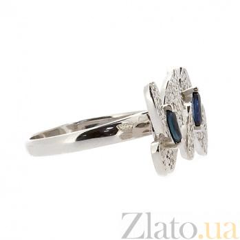 Золотое кольцо в белом цвете с сапфирами и бриллиантами Патрисия ZMX--RS-6722w_K