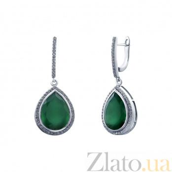 Серебряные серьги с зеленым агатом Версаль AQA--E02444Ag