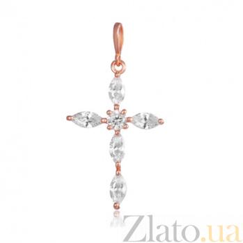 Серебряный крестик Версаль с фианитами и позолотой 000028701