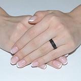 Золотое кольцо с чёрным цирконием Черная ночь