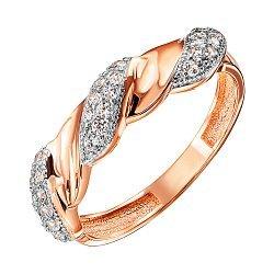 Кольцо из красного золота с фианитами и родированием 000127983