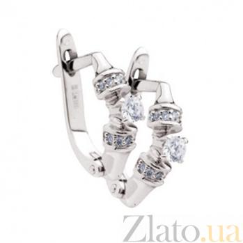 Золотые серьги с бриллиантами Анжела KBL--С2262/бел/брил