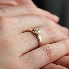 Золотое помолвочное кольцо Аглая в комбинированном цвете с бриллиантом и алмазной гранью