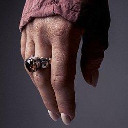 Кольцо из серебра Rotundum с золотыми вставками, коньячным и белыми фианитами 000091448