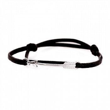 Кожаный браслет с серебром Arrow Black с чернением 000091313