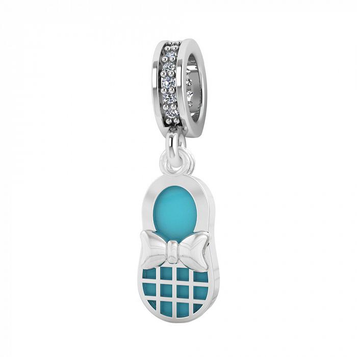 Серебряный шарм Туфелька с фианитами и голубой эмалью 000067231