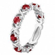 Кольцо в белом золоте Венеция с рубином