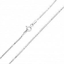 Цепочка из серебра Тройная линия в плетении круглый снейк с насечкой, 1мм