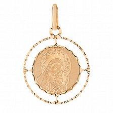 Золотая ладанка Материнская Защита в красном цвете