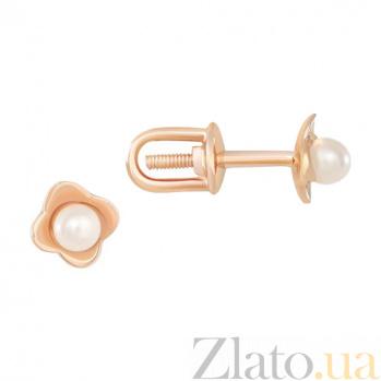 Золотые серьги-пуссеты с жемчугом Эустома 000023119