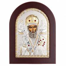 Николай Чудотворец икона серебряная с позолотой