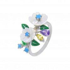 Серебряное кольцо Яркие лепестки с разноцветными фианитами, перламутром и эмалью