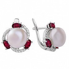 Серебряные серьги Восточные сокровища с жемчужиной, рубинами и цирконием