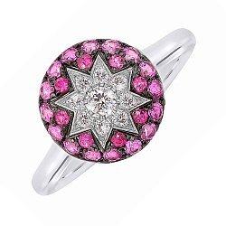 Кольцо из белого золота Счастливая звезда с бриллиантами, рубинами и розовыми сапфирами 000081002