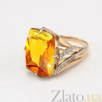 Золотое кольцо с цитрином и фианитами Джина VLN--112-811-8