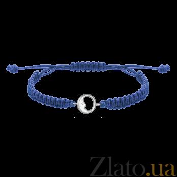 Детский плетеный браслет Месяц на небе с cеребряной вставкой и фианитом, 10х20см 000080651