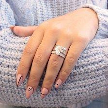 Серебряное кольцо Миледи бабочка с двойной шинкой и белыми фианитами