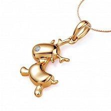 Минималистичный кулон Рождественский олень в красном золоте с бриллиантом