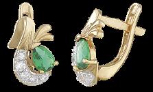 Позолоченные серебряные серьги с зеленым цирконием Берфане