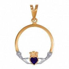 Золотой кладдахский кулон Царство любви с синтезированным сапфиром