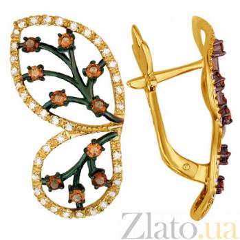 Сережки из желтого золота с кристаллами циркония Крылья бабочки VLT--ТТ2261-1