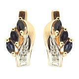 Серьги из красного золота с сапфирами и бриллиантами Марина