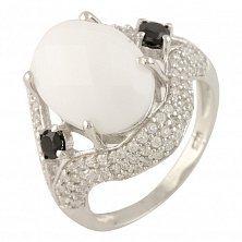 Серебряное кольцо Леонарда с белым агатом и фианитами