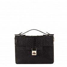 Кожаный клатч Genuine Leather 1606 черного цвета под кожу рептилии с короткой ручкой