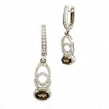 Серебряные серьги-подвески Сильвия с раухтопазом и фианитами