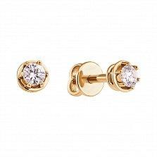Серьги-пуссеты из желтого золота Эстель с бриллиантами