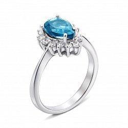 Серебряное кольцо с топазом и фианитами 000136545