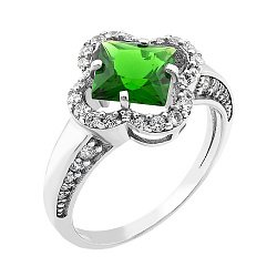 Серебряное родированное кольцо с зеленым альпинитом и белыми фианитами 000088815