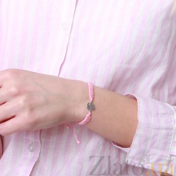 Детский плетеный браслет с серебряной вставкой Листок клевера с фианитом 10-10см 000080666