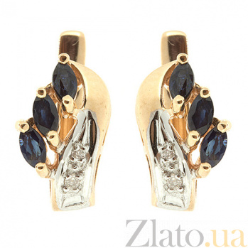 Серьги из красного золота с сапфирами и бриллиантами Марина ZMX--ES-112_K