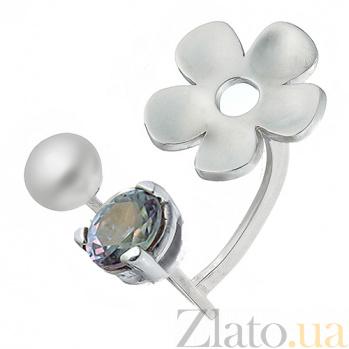 Серебряное кольцо с жемчугом и синим корундом Жемчужная весна 10ЖР1-Т