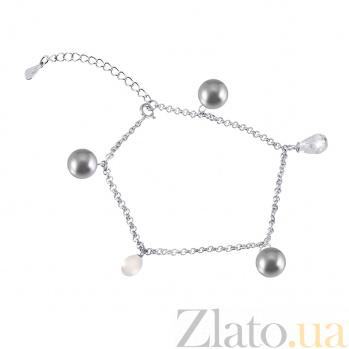 Серебряный браслет с жемчугом и фианитами Лия 000025888