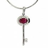 Серебряная подвеска с бриллиантами и рубином Ключик от сердца