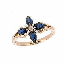Кольцо из красного золота с сапфирами и бриллиантом Грация
