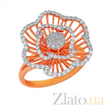 Кольцо из красного и белого золота Бегония с фианитами VLT--ТТ1023-2
