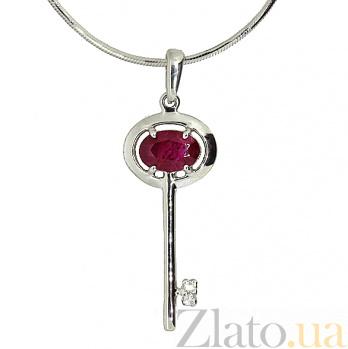 Серебряная подвеска с бриллиантами и рубином Ключик от сердца ZMX--PDR-6710-Ag_K