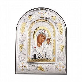 Серебряная икона Казанская Божия Матерь 000141222