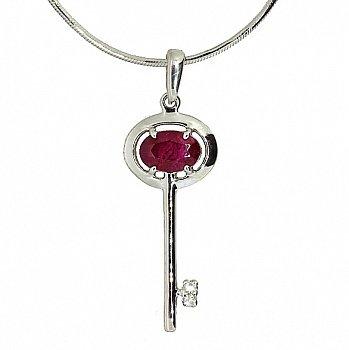 Серебряная подвеска с бриллиантами и рубином Ключик от сердца 000019104