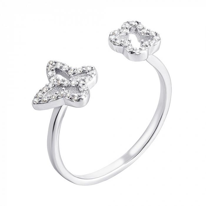 Серебряное кольцо Киана с фианитами в стиле Ван Клиф 000070071