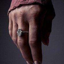 Серебряное кольцо Hamsa с чернением
