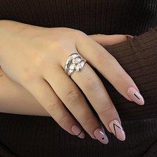 Серебряное родированное кольцо Моана с широкой каплевидной шинкой