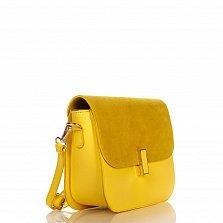 Кожаный клатч Genuine Leather 1655 желтого цвета с механическим замком на клапане