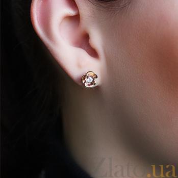 Пуссеты из красного золота с бриллиантами Весенняя роза KBL--С2437/крас/брил