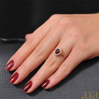 Золотое кольцо Фаина с гранатом и фианитами EDM--КД4033ГРАНАТ