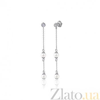 Серебряные серьги-висюльки с жемчугом Бетани SLX--С2ФЖ/828