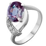 Серебряное кольцо Оливия с синтезированным александритом и фианитами